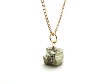 Silver pyrite pendant, gray gemstone jewelry, gold fill wire wrapped necklace, rough pyrite necklace, fools gold jewelry, gray cube pendant