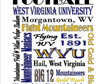 Instant Download Printable West Virginia University Football Subway Art Sign
