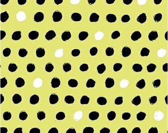 Quilting Fabric by the Yard, Ampersand Design 8 Days a week, Black and white dots on yellow, Windham Fabrics, Modern Fabric, Quilting Cotton