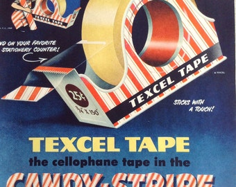 Vintage Paper Ephemera for Texcel Tape in the Candy Stripe Dispenser, Great Advertisement from a 1949 Life Magazine.
