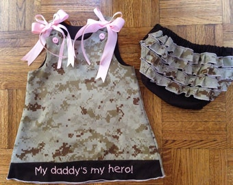 Personalized embroidered marine corps baby dress set USMC digital desert camo outfit