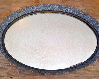 Vintage Mirrored Tray in Dark Gray