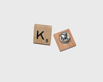 Wooden Scrabble Tile Brooch