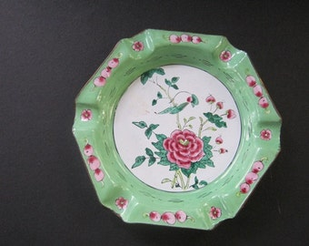 Vintage Enameled  Hexagon Shaped Ashtray