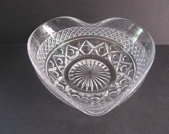 Vintage Clear Glass Heart Shaped Dish