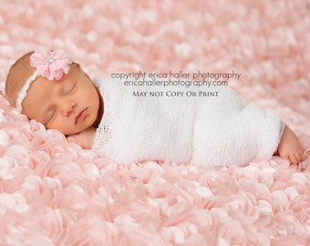 Grace, Pink Flower Tie Back, Pink Headband, Flower Headband, Newborn Headband, Newborn Photo Prop, Many Colors Available