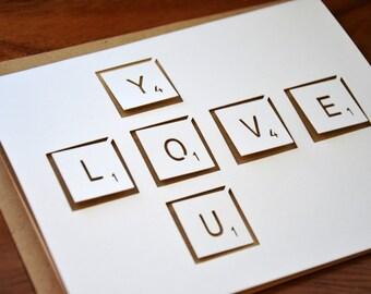 Die-Cut Love You Scrabble Card in Light Brown