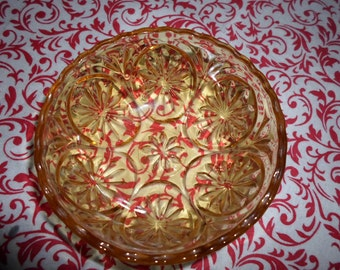 Yellow Star and Cameo Anchor Hocking Bowl