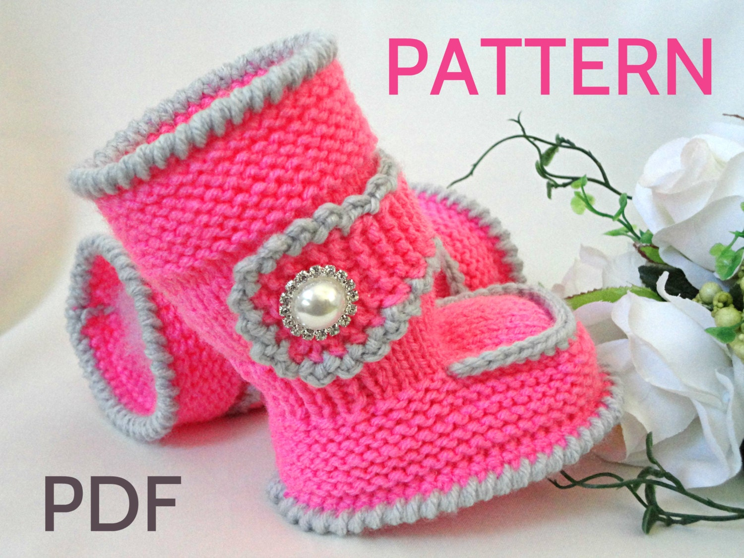 Knitting Designs Baby Shoes : Knitting pattern baby booties shoes knitted by