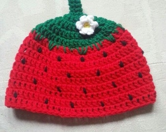 Crochet Strawberry Beanie
