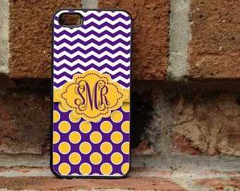 Personalized iPhone Case, - iPhone 5, iPhone 6, iPhone 7, Samsung Galaxy S5, Galaxy s6, Samsung S7  - LSU - 153