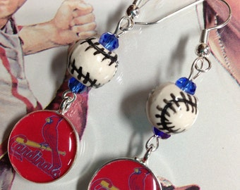 St. Louis Cardinal Baseball Dangle Earrings