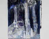 Amethyst Caverns.Crystals. Wall Hanging. Beaded. Textiles. Embroidery. Purple. Art Quilt.Stalitites Fiber Art Quilted Embroidered..