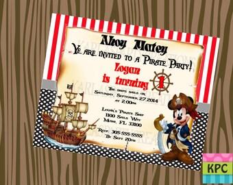 Mickey Mouse Pirate Theme Invitation , Mickey Mouse Pirate Invitation, Mickey Mouse Invitations