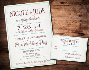 Casual Wedding Invitation and RSVP Set (printable)- available in any color font to match your wedding