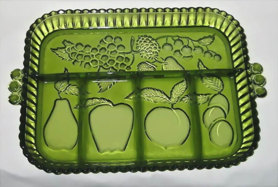 Indiana Glass Divided Relish Dish Tray Fruit Pattern