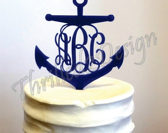 6 inch Anchor with Vine Monogram CAKE TOPPER - Celebrate, Party, Cake Decoration