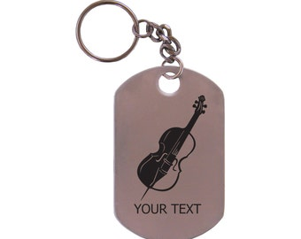 Personalized Engraved Cello Musical Instrument Stainless Steel Dog Tag Keychain
