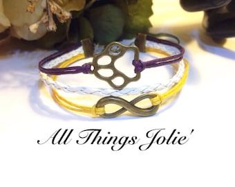 LSU Tigers Bracelet Jewelry | Bronze Infinity Leather / Cotton Cord Wrap