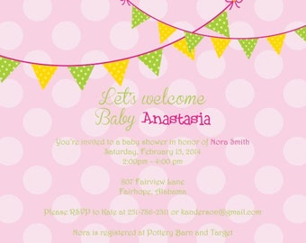 Pink Polka Dot with Pennants/Bunting Baby Girl Shower Invitation