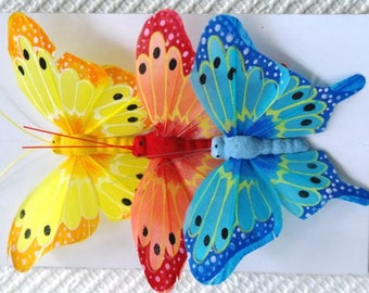 Butterflies, Toppers, Wire, Florists, Craft, Feathers. Set 6