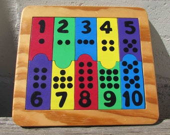 Educational Puzzle, Recycled Wood, Pre-School, Numbers and Counting, 10 Pieces, Handmade