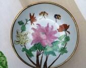 Vintage brass & porcelain chinoiserie dish