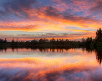 Fire in the Sky- Fine Art Landscape Photography Print- A fiery autumn sunset in South Florida.