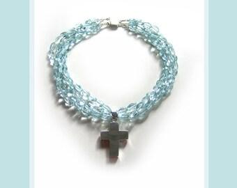 Aqua Cruz: 'Aquamarines', sterling silver. Necklace and earring set.