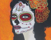 Giclee PRINT 9x12 Day of the Dead Señorita Otoño Art Lady Autumn Sugar Skull Orange Fall Acrylic Painting Gothic Hispanic Mexican