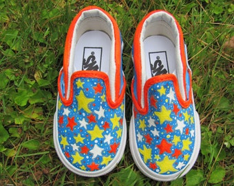 Hand Painted Customized Children's  Vans,  Children's Canvas Orange and Blue Galaxy Slip On Shoes in Size 6 Toddler!!!