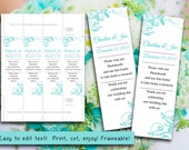"Photo Booth Insert Place Card Template | ""Charlan"" Light Turquoise Blue 