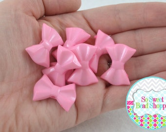 Acrylic Bow Beads, Light Pink, 8 ct, 19X26mm