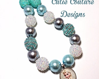 Frozen Necklace, Chunky Necklace, Disney Inspired Necklace, Rhinestone Necklace, Bubblegum Necklace, Birthday Necklace, Elsa Necklace