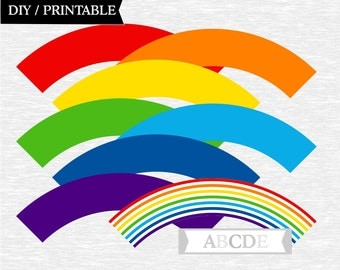 Instant Download Rainbow Paty Cupcake wrappers DIY Printable (PDSDCH001)