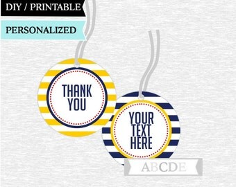 Personalized Yellow and Navy Thank You tags Nautical Birthday party Baby shower DIY Printable