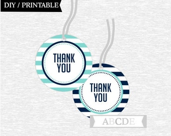 Instant Download  Thank You tags Nautical Birthday party Baby shower DIY Printable (NO)