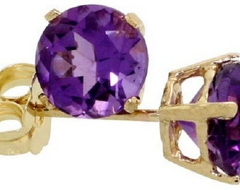 14K Yellow Gold Amethyst February Birthstone Stud Earrings