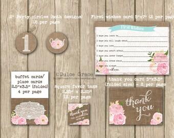 pastel 1st birthday, pink 1st birthday, pink birthday party, 1st birthday kit, printables package, shabby style, baby girl birthday kit,