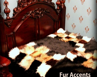 FUR ACCENTS Custom Faux Fur Bedspread / Comforter / Black Mink Coyote Chinchilla Patchwork Pattern