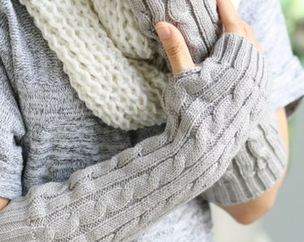 G7  Dark gray  Long Hand-knitted  Gloves  Wrist Warmers  Arm warmmers