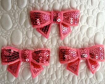 """Set of 3 Pink Mini Sequin Bows - Petite 2"""" Sequin Hair Bows in Pink - Sequin Bow Applique -Mini Bows- Bows Wholesale."""