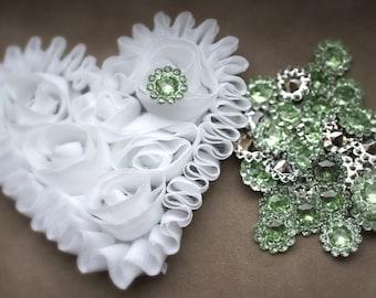 15 Mint 11mm acrylic rhinestones - Mini Acrylic Buttons - Flower center - 11mm Button - Wholesale Buttons - rhinestone embellishment