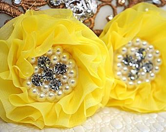Set of 2 - Yellow Beaded Fabric Flowers - Yellow Fabric Flower - Rhinestone Pearl Flowers - Chiffon Beaded Flower - Parisian Chiffon Flowers