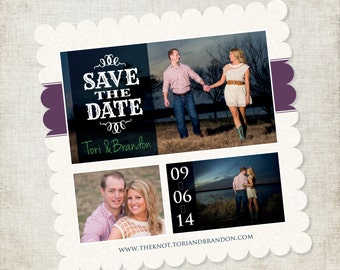 5x5 Custom Designed Scalloped Save the Date Magnet in Ivory with blue and purple accents
