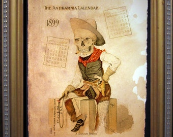 Antikamnia Calendar Skeleton Illustration Cowboy Rough Rider Art Print- Vintage Art Print on Tea Stained Paper