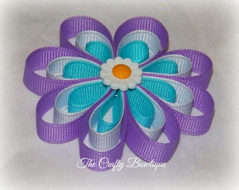 Small Flower Bow ~ Purple & Turquoise Flower ~ Daisy Flower Bow ~ Flower Hair Clip ~ Purple Flower Bow ~ Turquoise Flower Bow ~ Daisy Clip