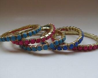Free U.S.shipping, 5 piece set stretch bracelets,pink stretch bracelet,blue stretch bracelet,dark blue stretch bracelet,handmade