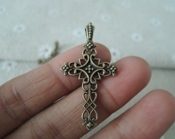 20pcs 38x21mm Antique Bronze cross charm( A243)