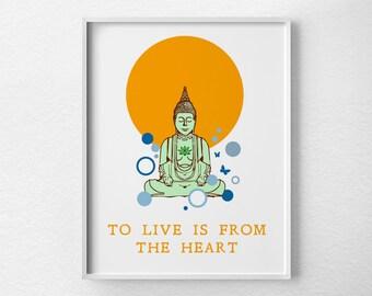 Buddha Art Print, Yoga Print, Zen Decor, Inspirational Print, Buddha Print, Inspirational Art, Zen Art, Yoga Studio Art, Buddha Poster, 0044